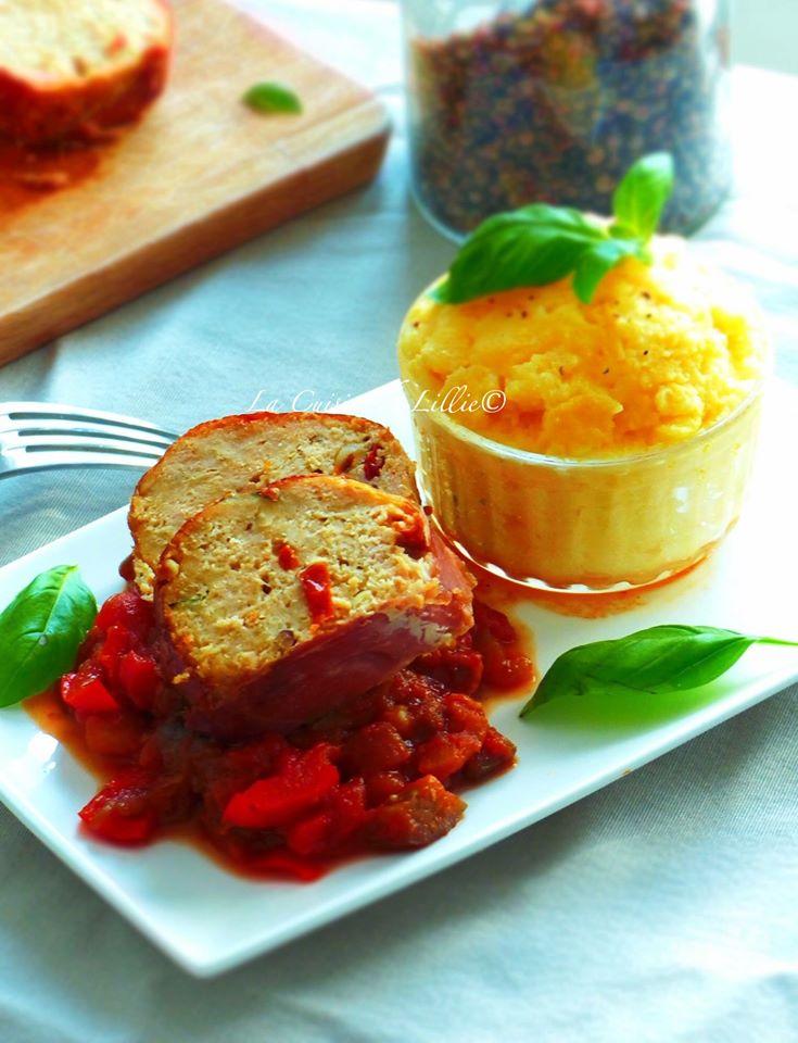 Minis pains de viande à l'Italienne au prosciuto, ratatouille express & polenta