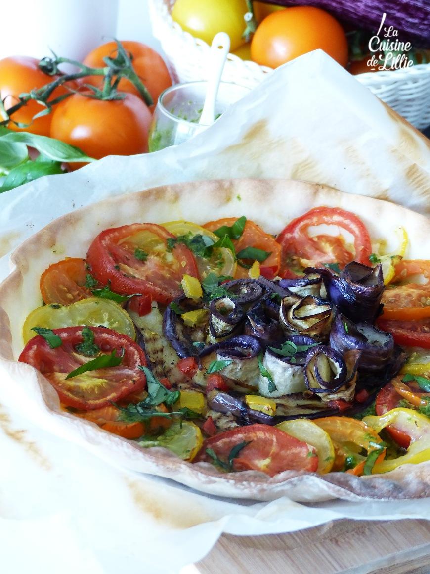Tarte au pistou, trois tomates et aubergine grillées 4